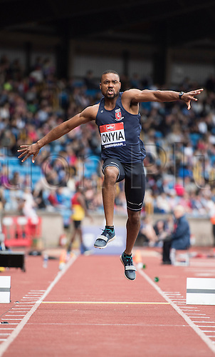 25.06.2016. Alexander Stadium, Birmingham, England. The British Athletics Championships 2016.<br /> Chukwudi Onyia Competes in the Mens Triple Jump Final at the British Athletics Championships in Birmingham.