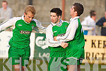 ALMOST THERE: Kerry goalscorer David Conway is congratulated by brother Steve and midfielder Luke Burgess after firing Kerry League into the lead against Cork City in their Eircom League clash on Minday night..