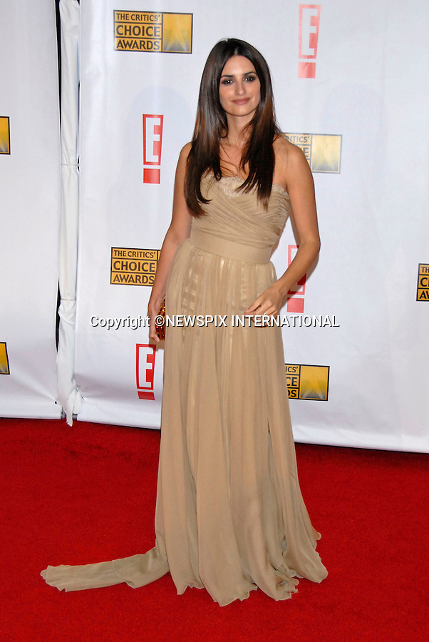 """PENLOPE CRUZ MARRIES JAVIER BARDEM.It has been confirmed that the couple have tied the knot in a private ceremony in the Bahamas last week...PENELOPE CRUZ.Arrives for the 12th Annual Critic's Choice Awards, Santa Monica Civic Auditorium, LA 12/01/2007..©DIAS - NEWSPIX INTERNATIONAL..Mandatory credit photo:NEWSPIX INTERNATIONAL(Failure to credit will incur a surcharge of 100% of reproduction fees)..**ALL FEES PAYABLE TO: """"NEWSPIX INTERNATIONAL""""**..Newspix International, 31 Chinnery Hill, Bishop's Stortford, ENGLAND CM23 3PS.Tel:+441279 324672.Fax: +441279656877.Mobile:  07775681153.e-mail: info@newspixinternational.co.uk"""