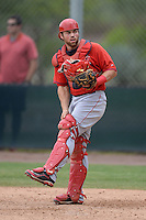 Los Angeles Angels of Anaheim catcher Wade Wass (19) during an Instructional League game against the Arizona Diamondbacks on October 7, 2014 at Salt River Fields at Talking Stick in Scottsdale, Arizona.  (Mike Janes/Four Seam Images)