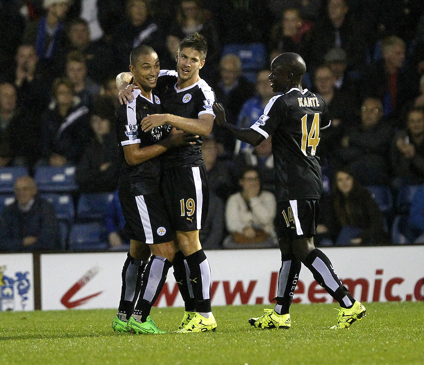 Leicester City's Andrej Kramaric celebrates scoring his sides second goal <br /><br />Photographer Mick Walker/CameraSport<br /><br />Football - Capital One Cup Second Round - Bury v Leicester City - Tuesday 25 August 2015 - Gigg Lane - Bury<br /> <br />&copy; CameraSport - 43 Linden Ave. Countesthorpe. Leicester. England. LE8 5PG - Tel: +44 (0) 116 277 4147 - admin@camerasport.com - www.camerasport.com