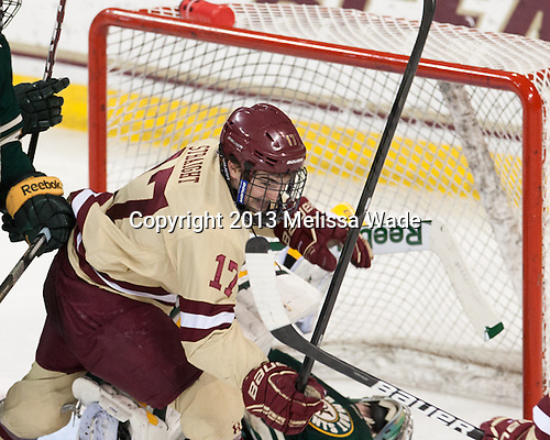 Destry Straight (BC - 17) - The Boston College Eagles defeated the visiting University of Vermont Catamounts to sweep their quarterfinal matchup on Saturday, March 16, 2013, at Kelley Rink in Conte Forum in Chestnut Hill, Massachusetts.