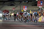 Elia Viviani (ITA) Team Sky just pips World Champion Peter Sagan (SVK) Tinkoff-Saxo to win Stage 4, The Yas Stage, of the 2015 Abu Dhabi Tour running 110 km 20 laps around the Yas Marina Circuit, Abu Dhabi. 11th October 2015.<br /> Picture: ANSA/Angelo Carconi | Newsfile