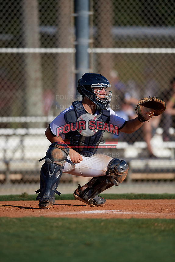 Jack Bulger during the WWBA World Championship at the Roger Dean Complex on October 19, 2018 in Jupiter, Florida.  Jack Bulger is a catcher from Bowie, Maryland who attends Dematha Catholic High School and is committed to Vanderbilt.  (Mike Janes/Four Seam Images)