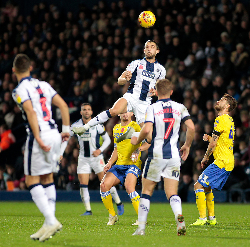 West Bromwich Albion's Jay Rodriguez rises highest<br /> <br /> Photographer David Shipman/CameraSport<br /> <br /> The EFL Sky Bet Championship - West Bromwich Albion v Leeds United - Saturday 10th November 2018 - The Hawthorns - West Bromwich<br /> <br /> World Copyright © 2018 CameraSport. All rights reserved. 43 Linden Ave. Countesthorpe. Leicester. England. LE8 5PG - Tel: +44 (0) 116 277 4147 - admin@camerasport.com - www.camerasport.com