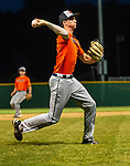 WATERBURY, CT-071520JS29—Brass City Bombers'  (2) throws home for the force out while starting a bases-loaded- double play against Simsbury SaberCats during their summer college league game Wednesday at Municipal Stadium in Waterbury. <br /> Jim Shannon Republican-American
