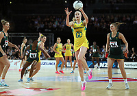 15.09.2018 Australia's Jo Weston in action during the Australia v South Africa netball test match at Spark Arena in Auckland. Mandatory Photo Credit ©Michael Bradley.