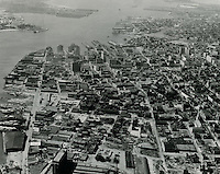 1959 .UNDATED..Historical..Aerial view looking West at Downtown...NEG#.NRHA#..