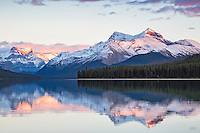 Malingne Lake Sunset, Jasper National Park, Alberta, Canada