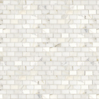Running Bond, a hand-cut stone mosaic, shown in polished 3cm x 5cm Calacatta.