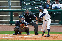 NW Arkansas Naturals outfielder Terrance Gore (3) at bat in front of catcher Jason Hagerty and umpire Lee Meyers during a game against the San Antonio Missions on May 31, 2015 at Arvest Ballpark in Springdale, Arkansas.  NW Arkansas defeated San Antonio 3-1.  (Mike Janes/Four Seam Images)