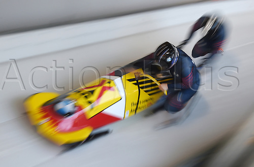 27.02.2016. Koenigssee,  Berchtesgaden, Germany. Two bobsledders in action at the Bobsleigh World Cup in Koenigssee, Germany, 27 February 2016.