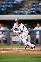 West Michigan Whitecaps center fielder Jacob Robson (7) squares around to bunt during a game against the Clinton LumberKings on May 3, 2017 at Fifth Third Ballpark in Comstock Park, Michigan.  West Michigan defeated Clinton 3-2.  (Mike Janes/Four Seam Images)