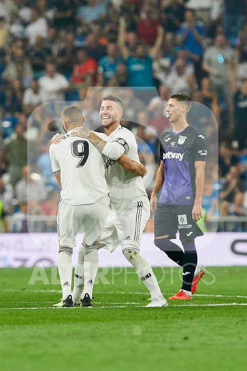 Real Madrid's Karim Benzema (l) and Sergio Ramos (r) celebrate goal during La Liga match. September 01, 2018. (ALTERPHOTOS/A. Perez Meca)