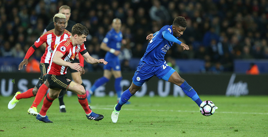 Leicester City's Demarai Gray chased by Sunderland's Billy Jones and Didier Ndong <br /> <br /> Photographer Stephen White/CameraSport<br /> The Premier League - Leicester City v Sunderland  - Tuesday 4th April 2017 - King Power Stadium - Leicester<br /> <br /> World Copyright &copy; 2017 CameraSport. All rights reserved. 43 Linden Ave. Countesthorpe. Leicester. England. LE8 5PG - Tel: +44 (0) 116 277 4147 - admin@camerasport.com - www.camerasport.com