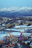 Overhead view of city and carnival rides at Winter Fur Rondy Festival, Anchorage, Alaska
