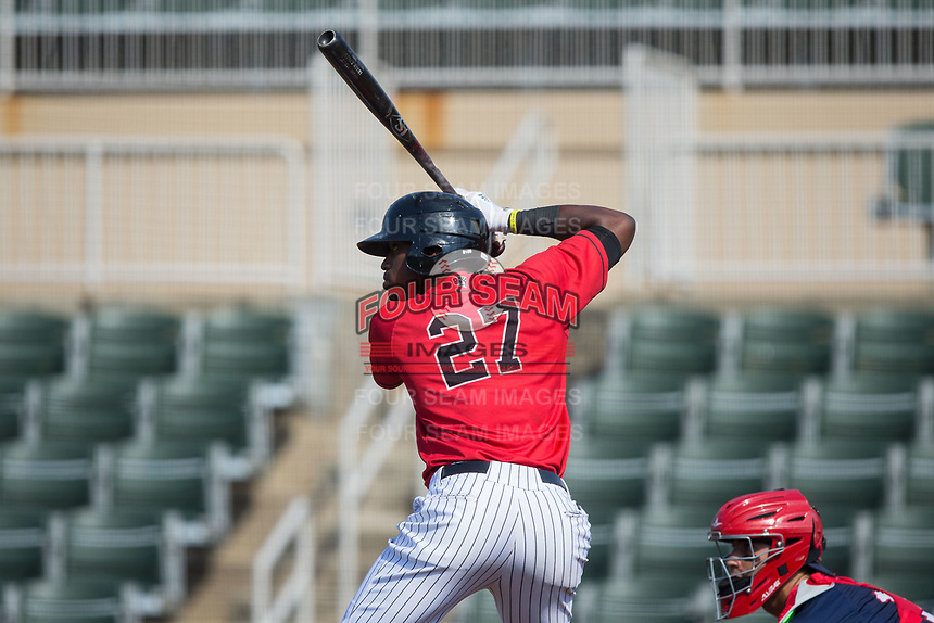 Micker Adolfo (27) of the Kannapolis Intimidators at bat against the Hagerstown Suns at Kannapolis Intimidators Stadium on June 14, 2017 in Kannapolis, North Carolina.  The Intimidators defeated the Suns 4-1 in game one of a double-header.  (Brian Westerholt/Four Seam Images)