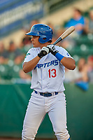 Luis Paz (13) of the Ogden Raptors bats against the Great Falls Voyagers at Lindquist Field on August 16, 2017 in Ogden, Utah. The Voyagers defeated the Raptors 11-6. (Stephen Smith/Four Seam Images)