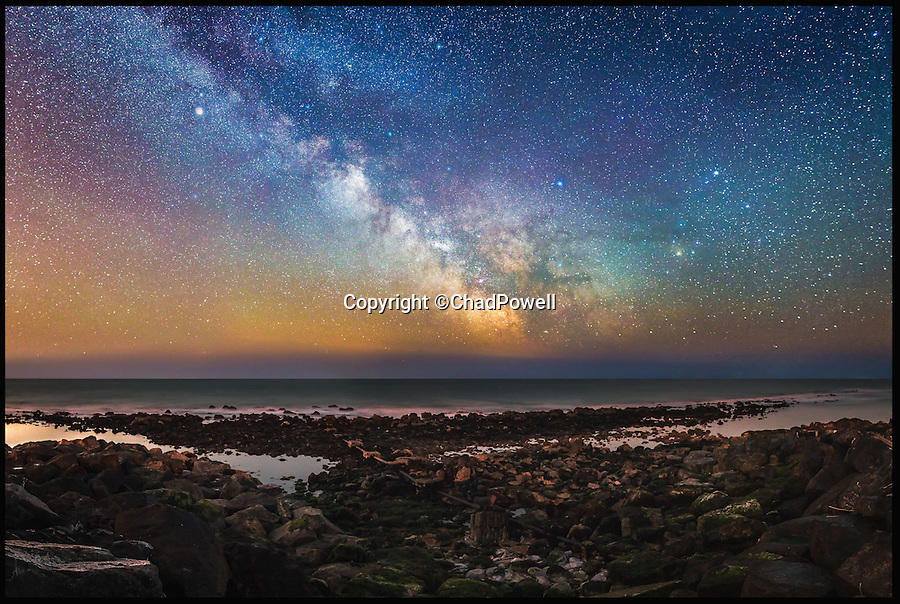 BNPS.co.uk (01202 558833)<br /> Pic: ChadPowell/BNPS<br /> <br /> The milky way over Steephill Cove on the Isle of Wight.