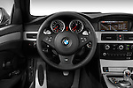 Steering wheel view of a 2008 BMW M5 Sedan
