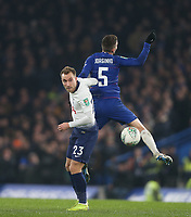 Tottenham Hotspur's Christian Eriksen and Chelsea's Jorginho<br /> <br /> Photographer Rob Newell/CameraSport<br /> <br /> The Carabao Cup Semi-Final Second Leg - Chelsea v Tottenham Hotspur - Thursday 24th January 2019 - Stamford Bridge - London<br />  <br /> World Copyright © 2018 CameraSport. All rights reserved. 43 Linden Ave. Countesthorpe. Leicester. England. LE8 5PG - Tel: +44 (0) 116 277 4147 - admin@camerasport.com - www.camerasport.com