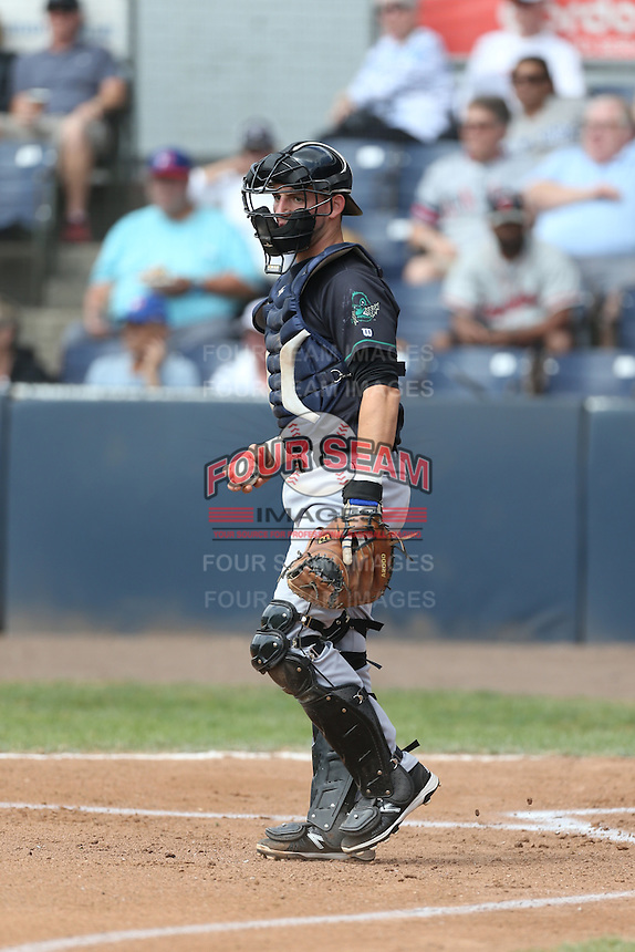 Alberto Mineo (31) of the Eugene Emeralds in the field at catcher during a game against the Vancouver Canadians at Nat Bailey Stadium on July 22, 2015 in Vancouver, British Columbia. Vancouver defeated Eugene, 4-2. (Larry Goren/Four Seam Images)
