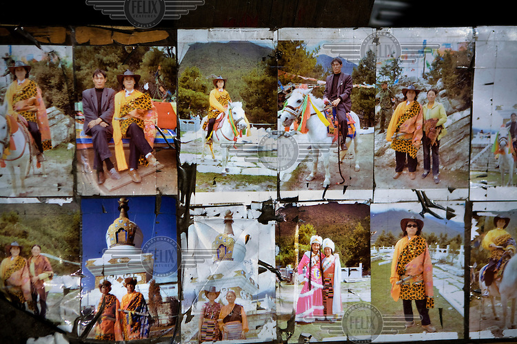Tourist photographs of people dressed up in Tibetan clothing in Kanding.