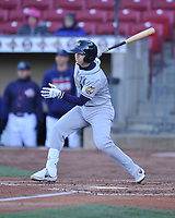 Burlington Bees shortstop Livan Soto (7) swings at a pitch against the Cedar Rapids Kernels at Veterans Memorial Stadium on April 13, 2019 in Cedar Rapids, Iowa.  Kernels won 2-1.  (Dennis Hubbard/Four Seam Images)