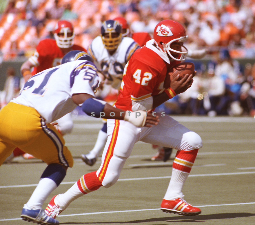 Kansas City Chiefs MacArthur Lane (42)  during a game from his career against the San Diego Chargers. MacArthur Lane played for 15 seasons, with 3 different team and  was a 1-time Pro Bowler. (SportPics)