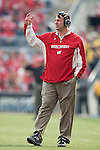 November 14, 2009: Wisconsin Badgers head coach Bret Bielema looks on during an NCAA football game against the Michigan Wolverines at Camp Randall Stadium on November 14, 2009 in Madison, Wisconsin. The Badgers won 45-24. (Photo by David Stluka)