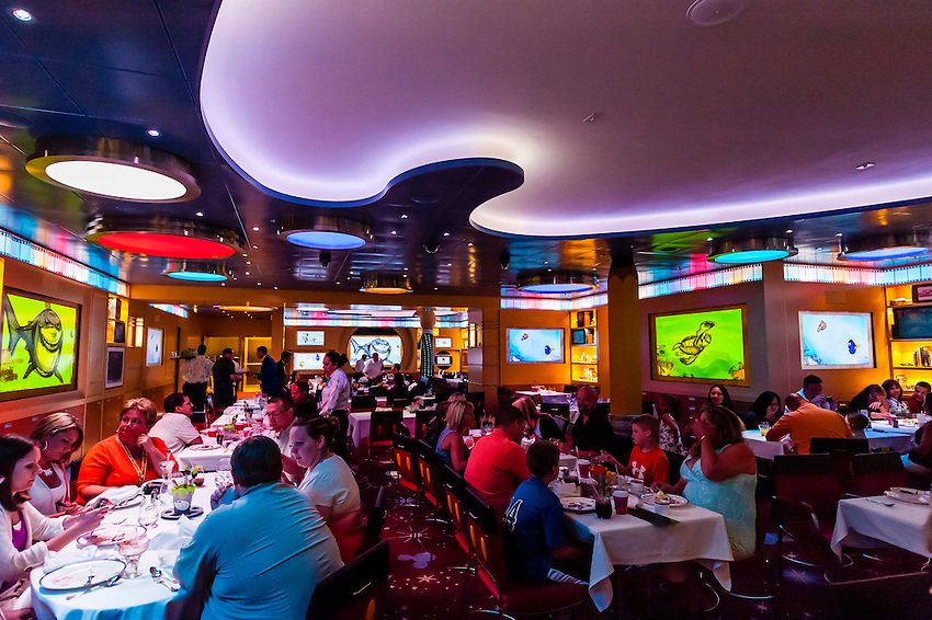 Animator's Palate restaurant on the new Disney Dream cruise ship sailing between Florida and the Bahamas.