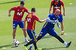 Marco Asensio, David Villa and Pepe Reina during the training of the spanish national football team in the city of football of Las Rozas in Madrid, Spain. August 28, 2017. (ALTERPHOTOS/Rodrigo Jimenez)