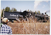 Engineer's-side view of C&amp;TS #497 standing near Cumbres while leading a simulated freight train for a photo run.<br /> C&amp;TS  near Cumbres, CO  Taken by Dorman, Richard L.