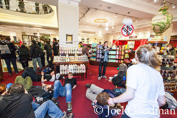 "© Joel Goodman - 07973 332324 . 26/03/2011 . London , UK . UK Uncut protesters occupy Fortnum and Mason in Piccadilly . Hundreds of thousands of people attend an anti cuts demonstration under the banner "" March for the Alternative "" in central London , in protest at the coalition government's austerity measures . Photo credit : Joel Goodman"