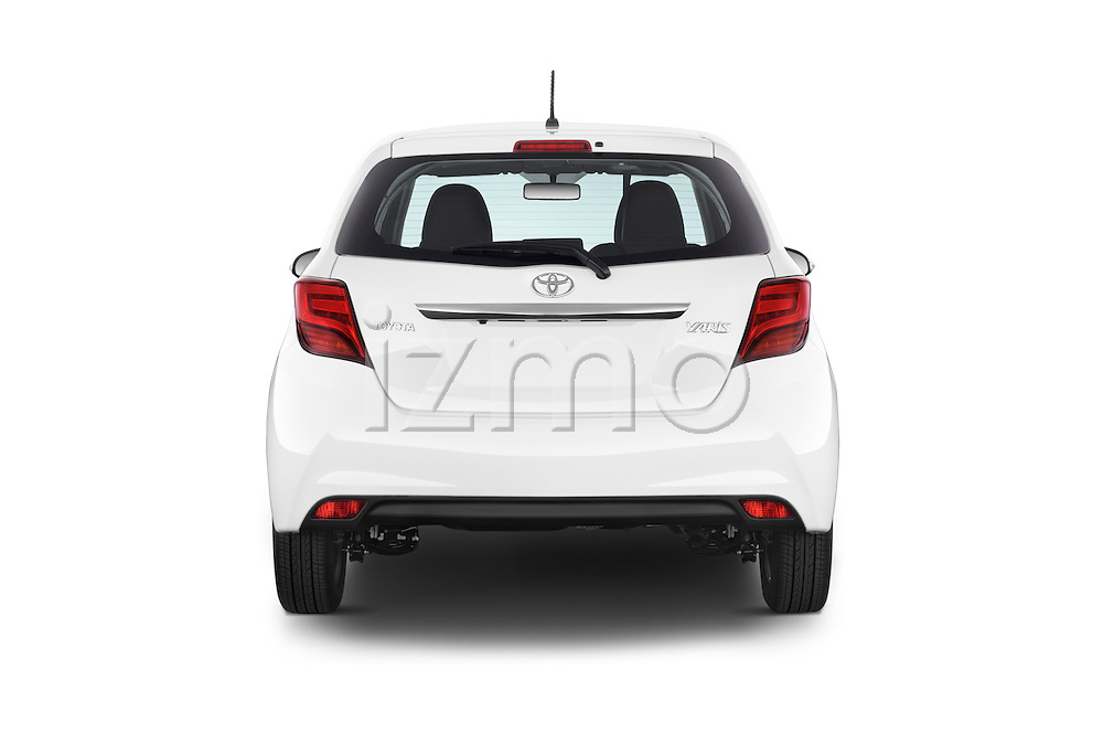 Straight rear view of2015 Toyota YARIS Dynamic 5 Door Hatchback 2WD Rear View  stock images