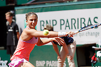 June 3, 2015: Sara Errani of Italy in action in a Quarterfinal match against Serena Williams of United States of America on day eleven of the 2015 French Open tennis tournament at Roland Garros in Paris, France. Williams won 61 63. Sydney Low/AsteriskImages