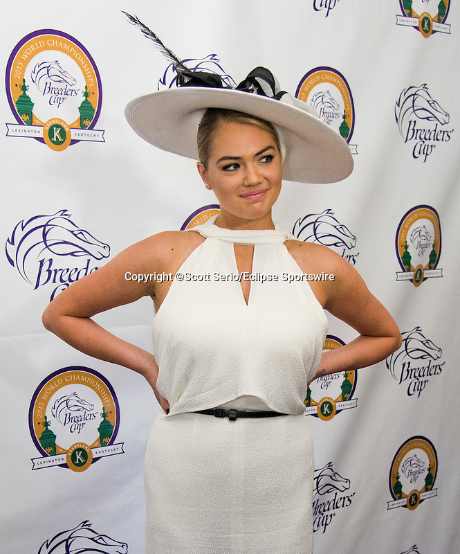 October 31, 2015 : Supermodel Kate Upton poses on the Purple Carpet at the Breeders' Cup at Keeneland Race Course in Lexington, Kentucky.  Scott Serio/ESW/CSM