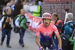 Lachlan Morton (AUS) EF Education First crosses the finish line of Strade Bianche 2019 running 184km from Siena to Siena, held over the white gravel roads of Tuscany, Italy. 9th March 2019.<br /> Picture: Eoin Clarke | Cyclefile<br /> <br /> <br /> All photos usage must carry mandatory copyright credit (&copy; Cyclefile | Eoin Clarke)