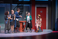 """Photo from the dress rehearsal of the Occidental College Department of Theater presentation of U-R-U by Julia Lederer, directed by Edgerton Guest Artist Jessica Kubzansky, Nov. 28, 2018 in Keck Theater.<br /> First daughter Helen Spectacular travels to Robo Island (Silicon Valley meets the Bermuda Triangle) on a secret mission to free thousands of robots from servitude. Absurdly comic and existentially chilling, U-R-U examines the societal obsession with progress at all costs and the decreasing worth of humanity in this increasingly artificial world.<br /> U-R-U is based on a 1920 science fiction play by the Czech writer Karel Čapek called R.U.R., which was the first time the word """"robot"""" was used.<br /> (Photo by Marc Campos, Occidental College Photographer)"""