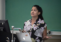 "Maricela Guardado '16 discusses ""Come Over for Chicken Soup: A Potluck and Play Reading of ""This Is How the Pacheco Brothers Make Their Mama's Chicken Soup"" by Maricela Guardado""<br /> Occidental College's Undergraduate Research Center hosts their annual Summer Research Conference on Aug. 4, 2016. Student researchers presented their work as either oral or poster presentations at the final conference. The program lasts 10 weeks and involves independent research in all departments.<br /> (Photo by Marc Campos, Occidental College Photographer)"