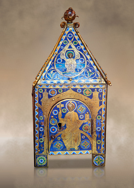 Medieval enamelled tabernacle depicting Christ in majesty, circa 1200 AD from Limoges, enamel on gold. AD. Inv OA 8984, The Louvre Museum, Paris.