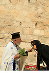 Israel, Jerusalem, the Greek Orthodox Ascension Day ceremony at the Ascension Chapel on the Mount of Olives