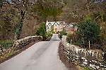Packhorse bridge traditional village cottages, Brendon, Exmoor national park, Devon, England