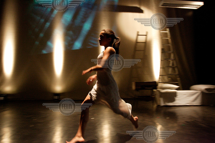 A young dancer rehearses before a performance at the Modern Dance Festival in Bytom.