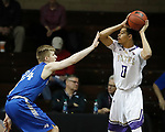 SIOUX FALLS, SD - MARCH 8:  xxxxxxxxxxxxxxxxxx #0 from the College of Idaho looks to pass the ball while being guarded by xxxxxxxxx #24 from Mayville State defends at the 2018 NAIA DII Men's Basketball Championship at the Sanford Pentagon in Sioux Falls. (Photo by Dick Carlson/Inertia)