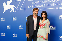 Spanish actors Javier Bardem, left, and his wife Penelope Cruz attend a photo call for the movie ''Loving Pablo' at the 74th Venice Film Festival on September 6, 2017 in Venice, Italy.<br /> UPDATE IMAGES PRESS/Marilla Sicilia<br /> <br /> *** ONLY FRANCE AND GERMANY SALES ***