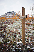 Signpost showing direction of Kungsleden trail, Lapland, Sweden