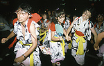 Hundreds of dancers perform in the main streets of Aomori, Japan.As darkness falls on Aomori huge illuminated paper-mache floats made of lumber, bamboo, wire and paper depicting men, animals and birds are pushed and pulled through the streets by groups of men, women and children during the Nebuta Festival in Aomori, Japan.  The festival dates back to the beginning of the eight century when the Ezo residents in northern Honshu rose in revolt. The Emperor sent General Sakanoue-no-Tamramaro, who, built Nebuta dummies of men and horses which were floated away at night. The Ezo thinking the Imperial troops had withdrawn, came back into the city only to be slaughtered by troops waiting in secret. Themes of the floats are picked from Kabuki stages, historical characters or fairy tales. (Jim Bryant Photo)...