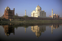 India, Uttar Pradesh, Taj Mahal reflected in the Yamuna River.