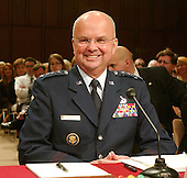 Washington, D.C. - May 18, 2006 --  United States Air Force General Michael Hayden smiles prior to his testimony before the United States Senate Intelligence Committee on his nomination as Director of the Central Intelligence Agency (CIA) in Washington, D.C. on May 18, 2006. <br /> Credit: Ron Sachs / CNP